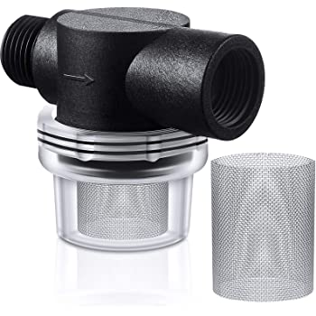 Water Pump Strainer Filter Set Include Twist-On Pipe Strainer and Extra 50 Mesh Stainless Steel Filter Screen, RV Replacement 1/2 Sediment Filter Compatible with WFCO Pumps