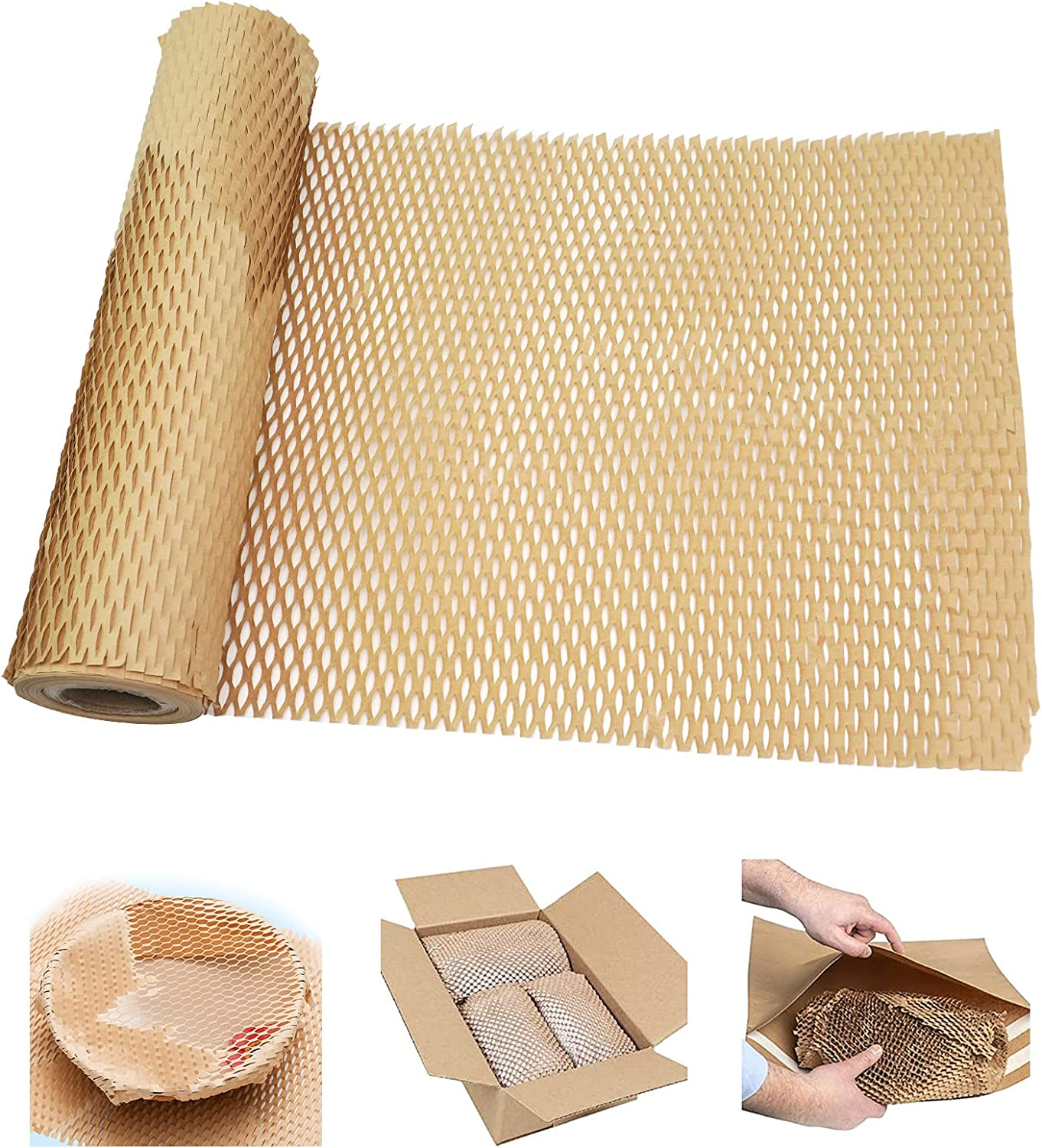 Isilila Premium Honeycomb Packing Paper 11.8inch X 50FT, Eco-friendly Honeycomb Cushioning Wrap Roll for Moving/shipping/packing, Biodegradable Honeycomb Packing Material Recyclable Kraft Paper : Office Products