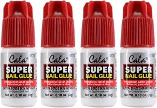 Cala Super Nail Glue Professional Salon Quality | Quick and Strong Nail Liquid Adhesive (4 Bottles)