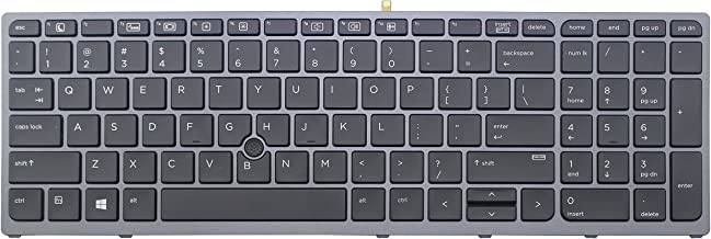 CHNASAWE Laptop Backlit US English Keyboard for HP Zbook 15 G3 17 G3, Black Color With Gray Frame and Trackpointer