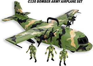 Smart Novelty Giant C130 Bomber Army Airplane Toy for Kids - Air Force Combat Military Fighter Toy Airplane with Lights and Sounds and Mini Soldiers Army for Boys Gift