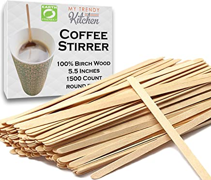 Wood Coffee Stir Stick (1500 Count) with Round Ends - Biodegradable 5.5 Inch Splinter-Free Strong Birch Wood Mixing Stirrers for Beverage,  DIY Art Craft Project - My Trendy Kitchen