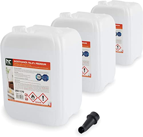 Höfer Chemie 3 x 10 L Bioéthanol 96,6% Premium - Qualité certifiée TÜV SÜD - pour cheminée à éthanol, godets à éthano...