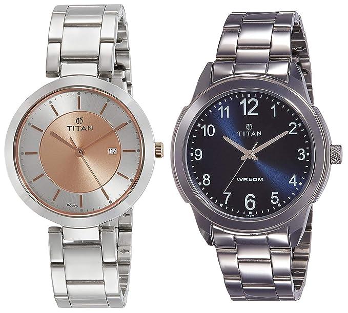 Titan Analog Silver Unisex Watches Combo  NK2480KM01,1585SM05  Wrist Watches