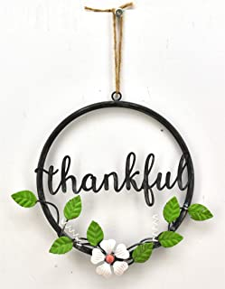 Parisloft Thankful Rustic Black Metal Circle and Word with Green Leaves & White Flower Metal Wreath Rope Hanging 8.7x9.4x0.8 Inches (Thankful)