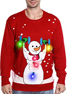 TURNMEON Light Up Men's Christmas Sweater,3D Snowman Ugly Sweater Knit Holiday Funny Sweatshirt