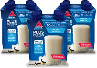 Atkins Plus Protein-Packed Shake, Vanilla, 4 Count per Pack, 44 Fl Oz, Pack of 3