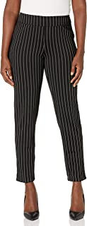 SLIM-SATION Women's Misses Rev Pull on Solid & Yd Stripe Ankle Pant