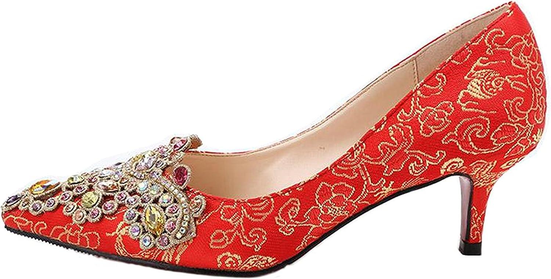 Reinhar colorful Stones Decorated Wedding shoes Flowers Pattern Satin Dress Kitten Heel