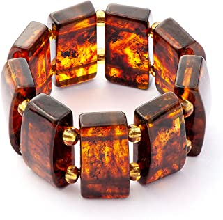 Baltic Amber Stretchable Women Ring - size US 8 - Semi Precious Gemstone Ring for Her - Rectangular beads on Two Elastic C...