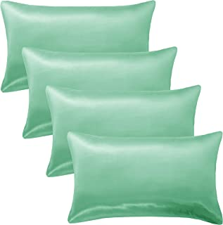 GLETU Satin Pillowcases Sets for Hair and Skin, Satin Pillow Case Standard Size 4 Pack - Silky, Comfortable, Slip Cooling ...