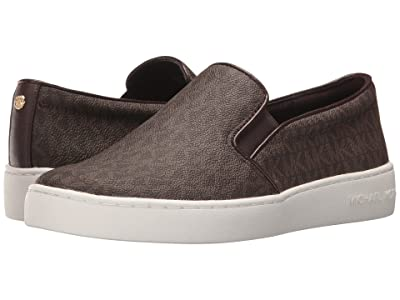 MICHAEL Michael Kors Keaton Slip-On (Brown Mini MK Logo Coated Canvas/Suprema Nappa Sport) Women