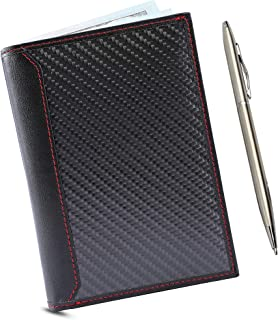 Luxury Passport Wallet Leather with RFID Blocking – Passport Holder Document Organizer for Travel, RFID Sleeve Wallets for Passports, Credit Cards, ID, Money – Great Travel Gift, Black Matte w/Red