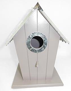 les colis noirs lcn Nichoir Oiseau en Forme de Maison en Bois avec Toit en Métal - Jardin Nid Nourriture - 564
