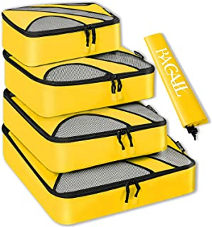 4 Set Packing Cubes,Travel Luggage Packing Organizers with Laundry Bag Or Toiletry Bag (Yellow)