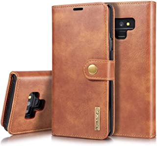 Galaxy Note 9 Case, Retro Cowhide Leather Magnetic Detachable 2 in 1 Wallet Cover Case for Samsung Galaxy Note 9 (Brown)