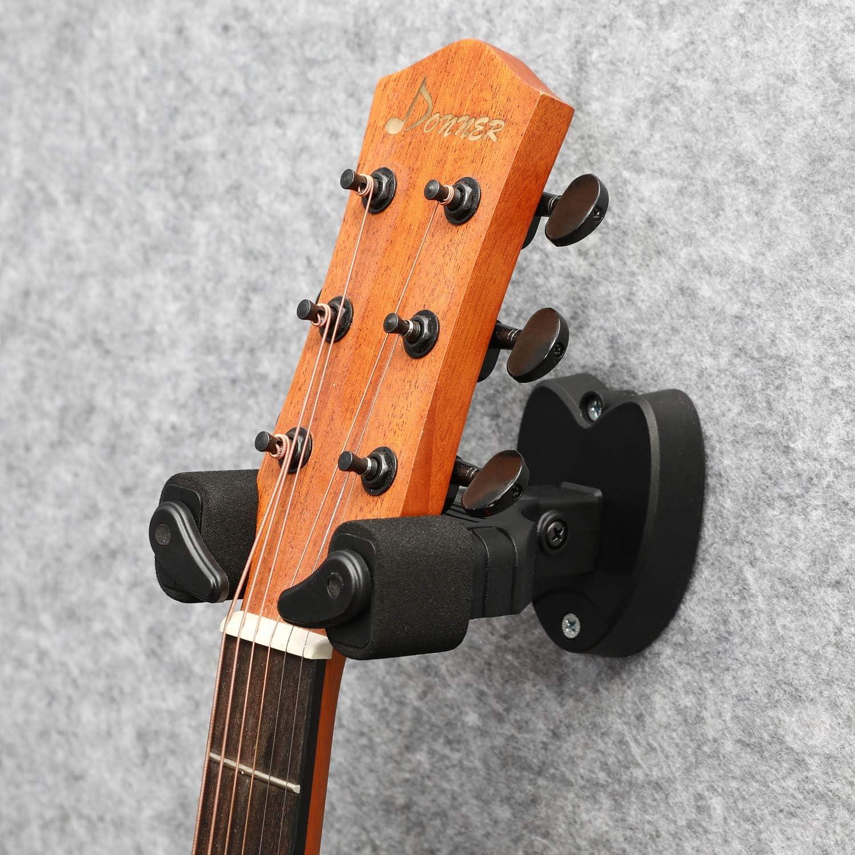 Donner Soporte Guitarra Pared Colgador de Pared para Guitarra El/éctrica Ac/ústica Cl/ásica//Bajo//Guitalele//Banjo//Mandolina Bloqueo Autom/ático Dise/ño Adecuado 3pcs Negro