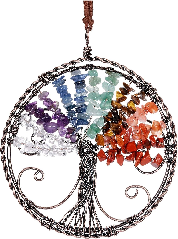 MANIFO 7 Chakra Reiki Healing Crystal Tree of Life Hanging Ornament Wire Quartz Gemstone Wall Hanger Home Office Decoration Meditation Balancing