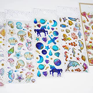 5 Sheets 3D Puffy Stickers Small Cute Stickers with Ocean Animals and Star Self-Adhesive Scrapbook Stickers Peel-Off Stick...
