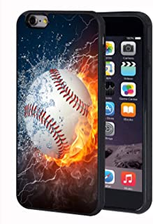 iPhone 6 Plus Case,iPhone 6S Plus Case,BWOOLL Burning Baseball Fire and Water TPU Protective Cover for Apple iPhone 6 Plus/iPhone 6S Plus - 5.5 inch