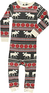Moose Fair Isle Soft Bodysuits for Babies and Infants by LazyOne | Baby Unionsuit 6,12,18 Months (18 MO)