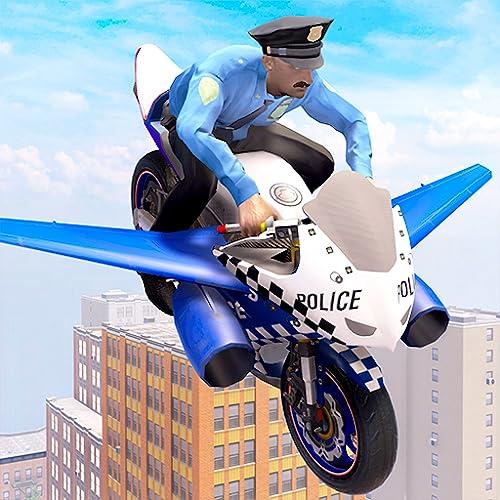 US Police Flying Bike Rider 3D-Spiel: Motorrad-Flugsimulator