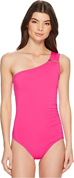 Iconic Solids Logo Bar One Shoulder One-Piece Swimsuit w/ Removable Soft Cups & Strap