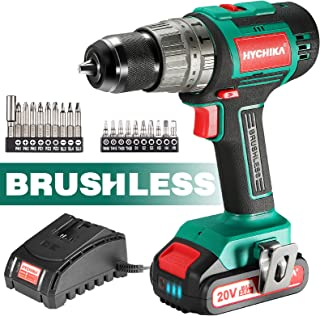Cordless Drill 20V Max, HYCHIKA Brushless Drill Max Torque 530 In-lbs, 2.0 AH Battery 1H Fast Charger, 21+3 Torque Setting...