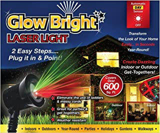 Holiday LED Lighting - Halloween Christmas Light Projector - 02028 Glow Bright Laser Light Show with Remote, Tripod, & Stake - 6 spinning light modes, 3 still light modes. Green & red, green, red