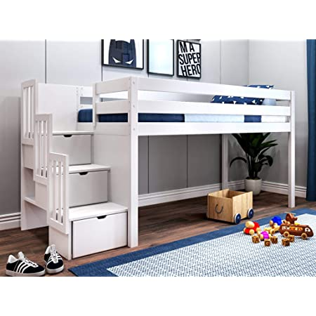 Jackpot Jp St White Contemporary Low Twin Stairway Loft Bed Furniture Decor