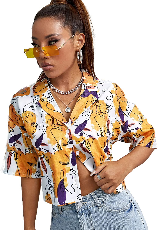 SheIn Women's Short Sleeve Button Down Crop Blouse Lapel Neck Casual Shirt Top