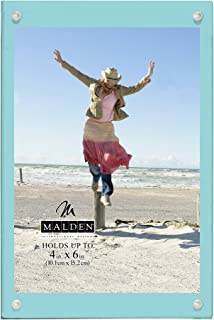 Malden International Designs Infinity Turquoise Wood Block with Magnetic Acrylic Front Picture Frame, 4x6, Turquoise