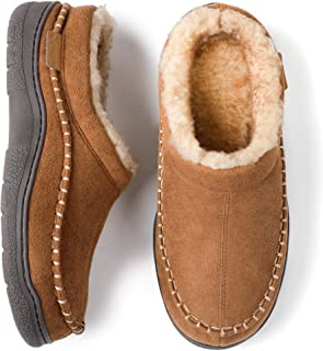 Men's Fuzzy Microsuede Moccasin Style Slippers...