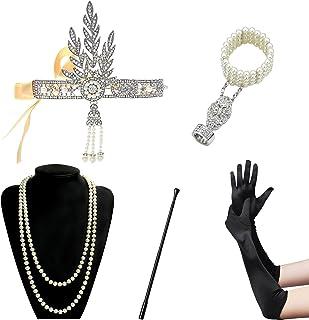 BigLion 20 Jahre Accessoires Flapper Set Stirnband Ohrringe Perlen Halskette Lange Schwarze Handschuhe Zigarettenspitze Gatsby Accessoires C