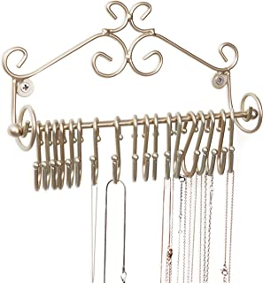 MyGift Wall-Mounted Brass-Tone Metal Scrollwork Design Jewelry Organizer Rack w/ 20 Hanging S-Hooks