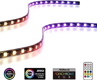 EZDIY-FAB Tiras de LED RGB direccionables con imán para la Caja de la computadora de la PC, con Control Remoto (Compatible...