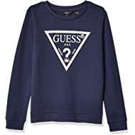 GUESS Girls' Big Long Sleeve Activewear Logo Pull Over Core