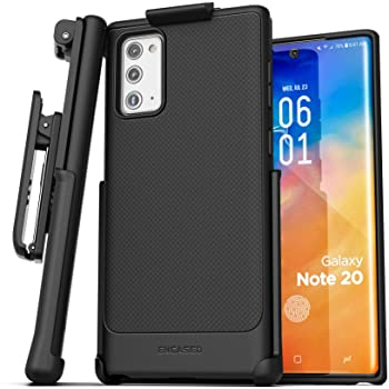 Encased Galaxy Note 20 Belt Clip Case (Thin Armor) Slim Grip Cover with Holster (Samsung Note 20) Black