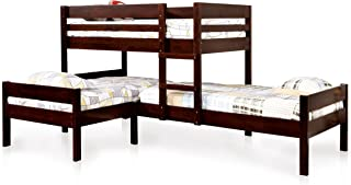 ioHOMES Kalan Transitional 3-Tier Bunk Bed, Twin, Espresso