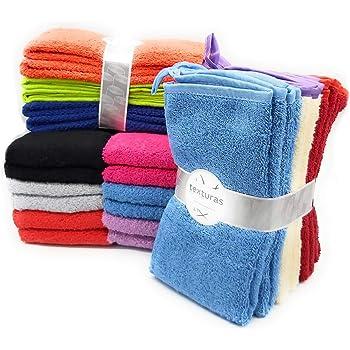 TEXTURAS HOME - Paño de Cocina Estampado Multicolor Sólidos 100% algodón (Pack-12 Unidades): Amazon.es: Hogar