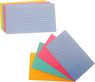 "Ruled Color Index Cards 3"" x 5"" Assorted Colors, 100 Per Pack"