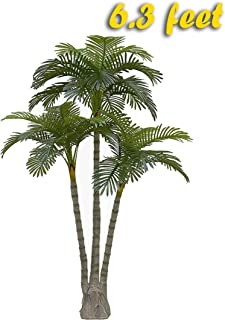 AMERIQUE Gorgeous 6.3 Feet Standable Triple Trunk Artificial Palm Tree, Real Touch Technology, with UV Protection, Super Quality, Green