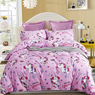 LAMEJOR Duvet Cover Sets King Size Cartoon Unicorn Pattern Bedding Set Comforter Cover Pink(1 Duvet Cover+2 Pillowcases)