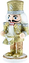 Clever Creations Wooden Chubby Glittery Gold and Silver Drummer Nutcracker | Festive Silver & Gold Drummer Outfit | Traditional Christmas Decor | Stands 6