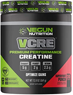 Vegun Nutrition - VCRE - Vegan Friendly Creatine - Pure Micronized Creatine Monohydrate - Post Workout Supplement for Men & Women - All Natural Lean Muscle Builder - Vegan Friendly - Increase Recovery