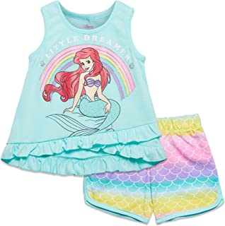 Disney Little Mermaid Girls Ariel Tank Top & French Terry Shorts Set