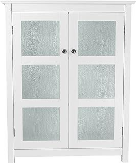 Elegant Home Fashions Armoire de Plancher Connor 2 Portes en Verre Blanc ELG-580, White/Off-White, 66 x 34,9 x 86,4