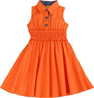 orange colour frocks for kids