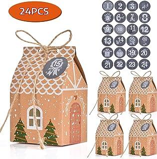 10 Stili 30 Pacchi Sacchetti Regalo di Natale con 24 Adesivi Natalizi Riutilizzabili Scatole di Carta Artigianale con 6 Nastro Design Natale Assortito Borse per Confezioni di Biscotti di Caramelle