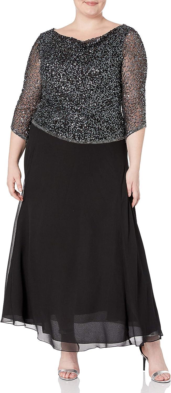 J Kara Women's Long Beaded Dress with Cowl Neck